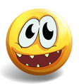 Yellow ball with happy face vector image vector image
