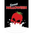 Strawberry skull falls in milk Splashes of white vector image
