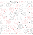 Cute hand drawn seamless pattern with donuts vector image