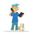 Delivery man in blue uniform holding box vector image