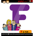 letter f with family cartoon vector image