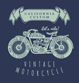 Vintage Hand Draw Motorcycle T-Shirt Design vector image