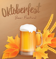 oktoberfest poster with realistic glass of beer vector image
