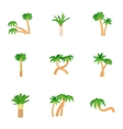 Types of palm icons set cartoon style vector image