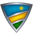 steel shield with flag rwanda vector image vector image