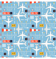 seamless pattern with passenger airplanes 04 vector image