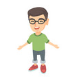 caucasian cheerful boy in glasses laughing vector image