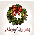 Christmas Card With Hand Drawn Wreath vector image