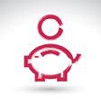 Hand drawn pink piggybank icon brush drawing coin vector image