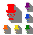 hipster accessories design set of red orange vector image