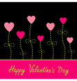 love card Heart flowers Black pink and green vector image