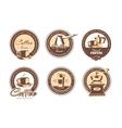 set of monochrome coffee emblems labels vector image