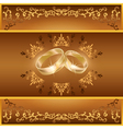 Wedding greeting or invitation card with rings vector image