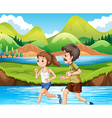 Man and woman jogging in the park vector image vector image