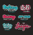 Set of vintage lettering logo rafting diving golf vector image
