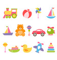 baby colorful toys set vector image