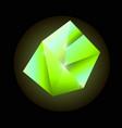 bright green luminous precious square crystal vector image