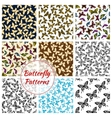 Butterflies and moth seamless patterns set vector image