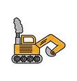 excavator digger truck construction machine icon vector image