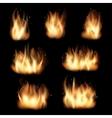 Fire flames set on black background vector image