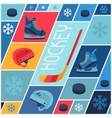 Sports background with hockey equipment flat icons vector image