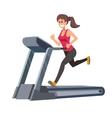 woman running on treadmill vector image