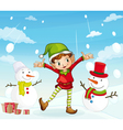 an elve and a snowman vector image vector image