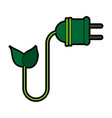 plug with leaf eco friendly related icon image vector image