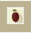 Plum flat stamp with long shadow vector image