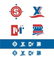 Blue red alphabet letter icon logo set vector image