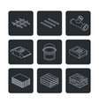 building and contruction materials icons set vector image