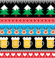 Christmas jumper pattern with beer vector image