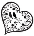 heart with birds and flowers vector image