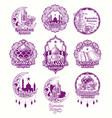 set purple sign for ramadan vector image