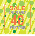 Special Offer 40 Percent On Colorful Green Bubbles vector image