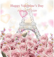 valentine day card with eiffel tower and roses vector image