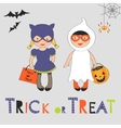 Trick or treat Halloween card with two kids in vector image vector image