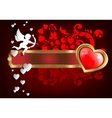 frame with hearts and Cupid vector image