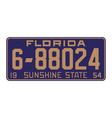 Florida1954 license plate vector image