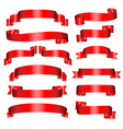 banners set of thirteen red banners on the white vector image