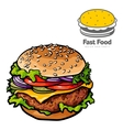 tasty burger with a logo vector image