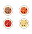 Set stickers pizza with salmon and olives vector image
