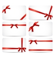 Gift Card Set with Red Ribbon and Bow vector image