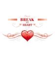Happy Valentines day border broken heart cracks vector image