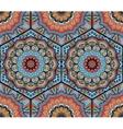 Honey Comb Hex Pattern Flower Mandala Blue Orange vector image