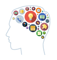 icons shape flat brain round vector image