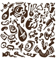 jazz instruments doodles vector image