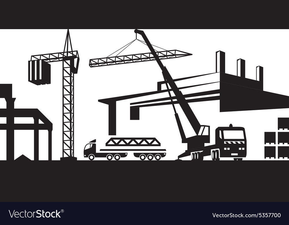 Installing crane on construction site vector
