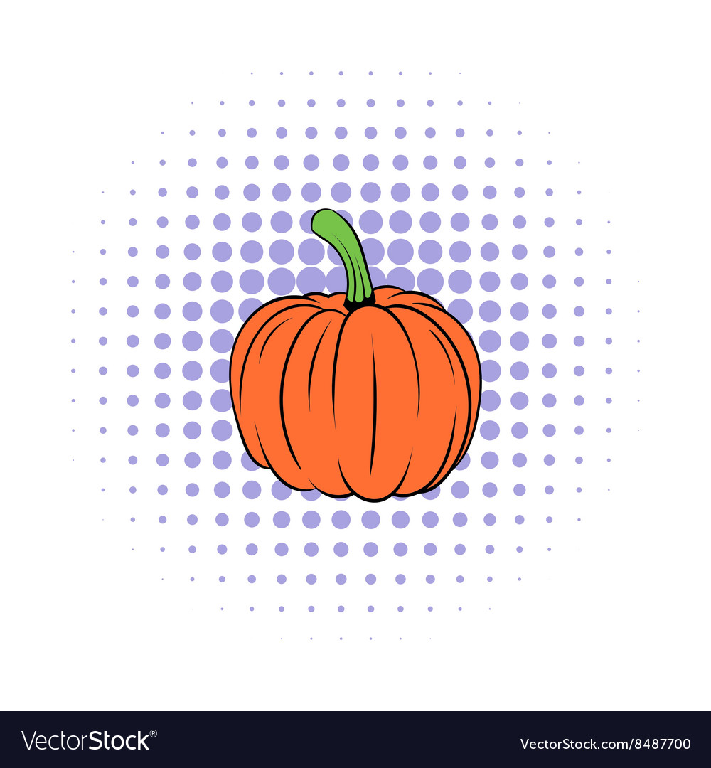 Pumpkin icon in comics style vector