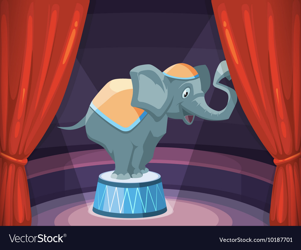 Big elephant on arena of circus vector